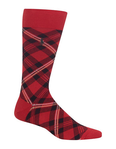 Polo Ralph Lauren Tartan Dress Socks-RED-10