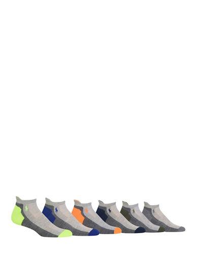 Polo Ralph Lauren Six-Pack Random Feed Heel-Toe Low Cut Sport Socks Set-GREY ASSORTED-10-12