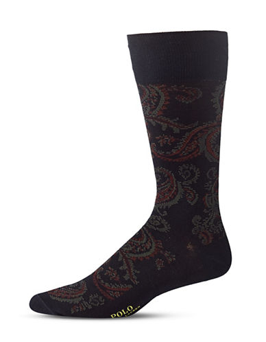 Polo Ralph Lauren Mens Paisley Mid-Calf Socks-NAVY-10