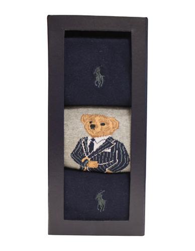 Polo Ralph Lauren Printed Bear Dress Socks-GREY-10