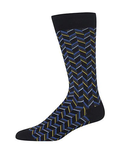 Hot Sox Herringbone Crew Socks-BLACK-One Size 90033455_BLACK_One Size
