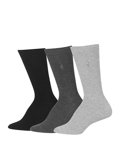 Polo Ralph Lauren Three-Pack Flat Knit Crew Socks-GREY-One Size