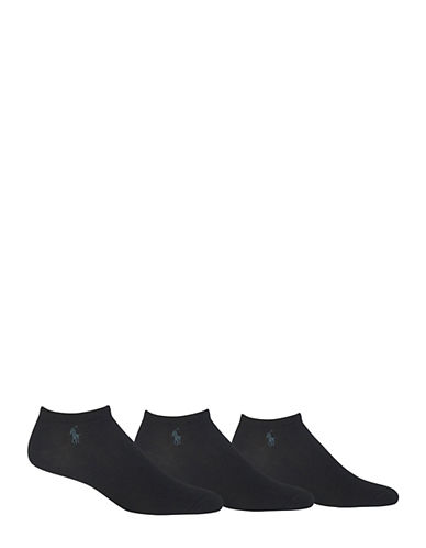 Polo Ralph Lauren Three-Pack Soft Ankle Socks-BLACK-7-12