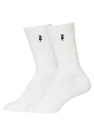 Ralph Lauren Ribbed Two-Pack Crew Socks-WHITE-9-11