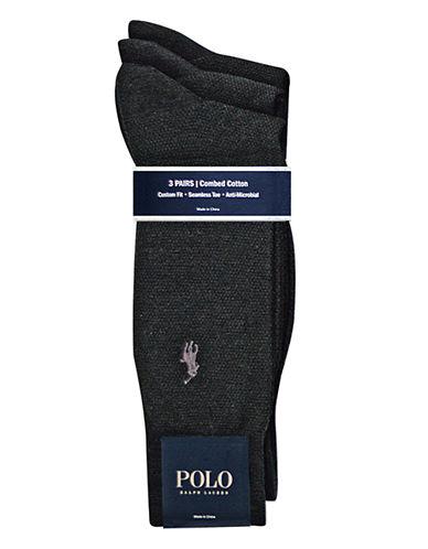 Polo Ralph Lauren 3 Pack Mesh Classic Dress Socks-BLACK-7-12