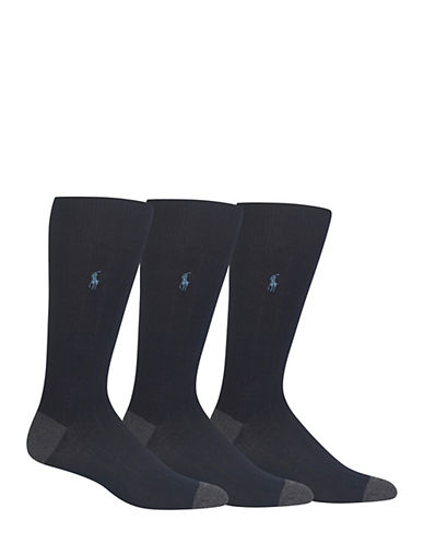 Polo Ralph Lauren Mens Three-Pack Rib Crew Socks-BLUE-7-12