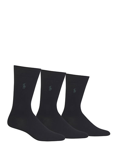 Polo Ralph Lauren Mens Three-Pack Dress Crew Socks-BLACK-10-12