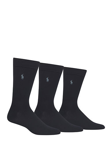 Polo Ralph Lauren Mens Three-Pack Dress Crew Socks-NAVY-10-12