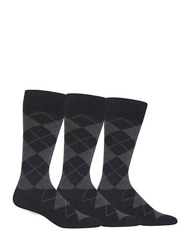 Polo Ralph Lauren Mens Three-Pack Argyle Socks-BLACK-7-12