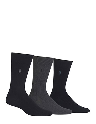 Polo Ralph Lauren Mens Three-Pack Ribbed Dress Socks-GREY-7-12