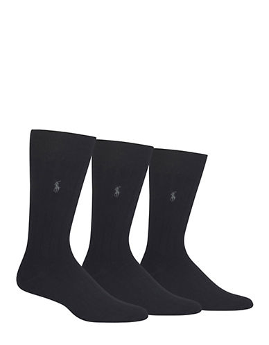 Polo Ralph Lauren Mens Three-Pack Ribbed Dress Socks-BLACK-7-12