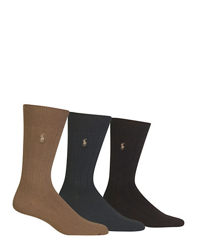 Polo Ralph Lauren Three-Pack Crew Socks-BROWN-7-12