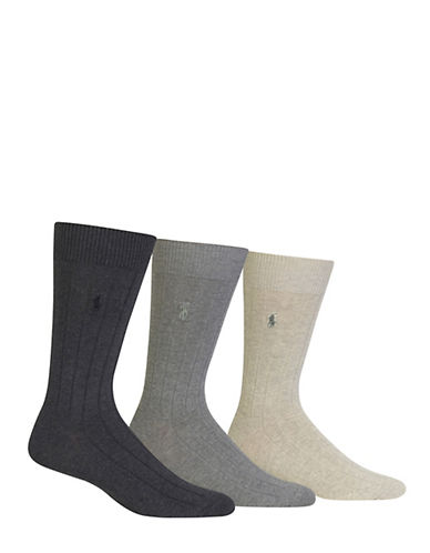 Polo Ralph Lauren Three-Pack Crew Socks-BLACK-7-12