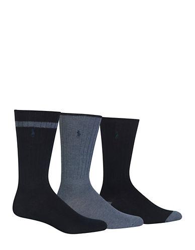 Polo Ralph Lauren Mens Three-Pack Crew Dress Socks-BLUE-7-12
