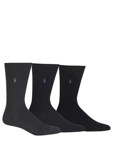 Polo Ralph Lauren Mens Merino Wool-Blend Socks-GREY-10
