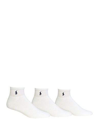 Polo Ralph Lauren Mens Big and Tall Three-Pack Sport Socks-WHITE-13-16