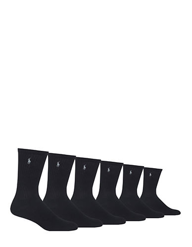 Polo Ralph Lauren Mens Six-Pack Crew Ribbed Socks-BLACK-7-12