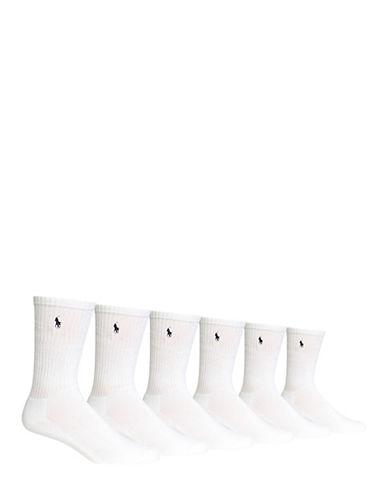Polo Ralph Lauren Mens Six-Pack Crew Ribbed Socks-WHITE-7-12