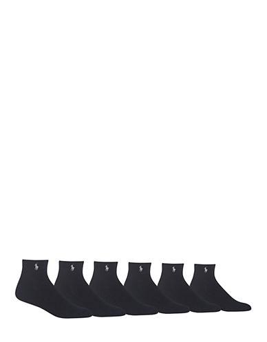 Polo Ralph Lauren Mens Six-Pack Quarter-Length Ribbed Socks-BLACK-7-12