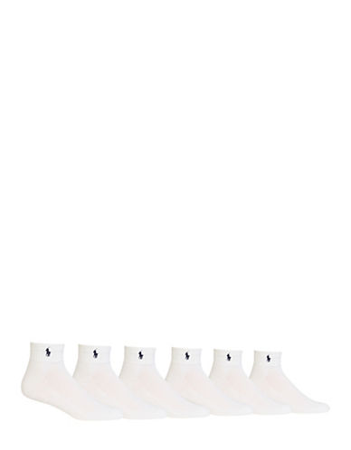Polo Ralph Lauren Mens Six-Pack Quarter-Length Ribbed Socks-WHITE-7-12