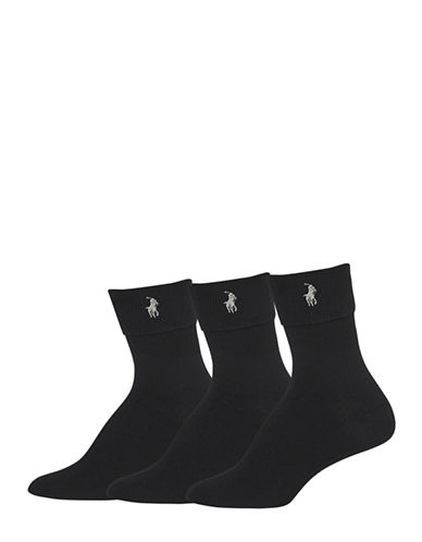 Polo Ralph Lauren Three-Pack Turned Cuff Ankle Socks-BLACK-One Size