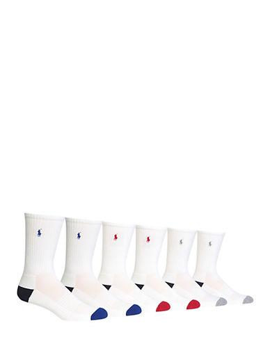 Polo Ralph Lauren Mens Six-Pack Contrast Athletic Socks-WHITE-7-12