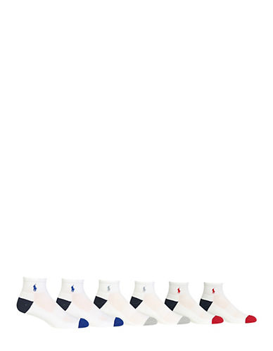 Polo Ralph Lauren Mens Six-Pack Quarter-Length Sport Socks-WHITE-7-12