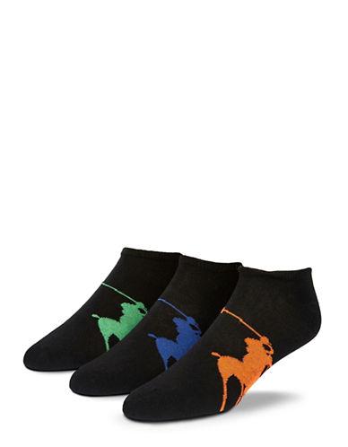 Polo Ralph Lauren Mens 3 Pack Polo Player Ankle Socks-BLACK-7-12