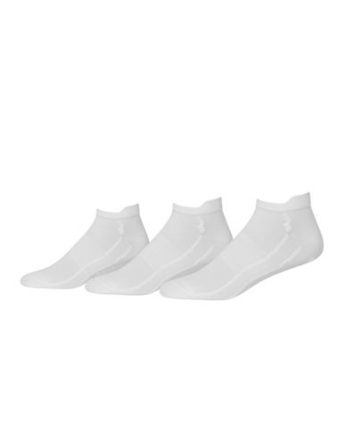 Polo Ralph Lauren Pack of Three Mens Tech Ghost Liner Socks-WHITE-10-12