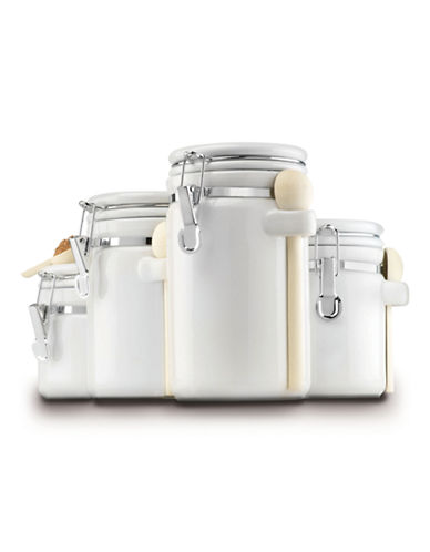 Anchor Hocking Four-Piece Ceramic Canister Set With Wood Spoons-WHITE-One Size 84882259_WHITE_One Size