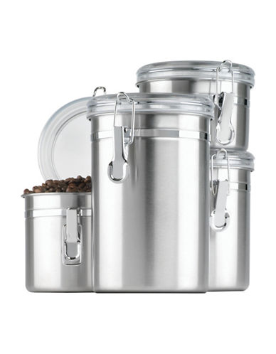 Anchor Hocking Four-Piece Stainless Steel Canister Set with Clear Clamp Top Lids-STAINLESS STEEL-One Size