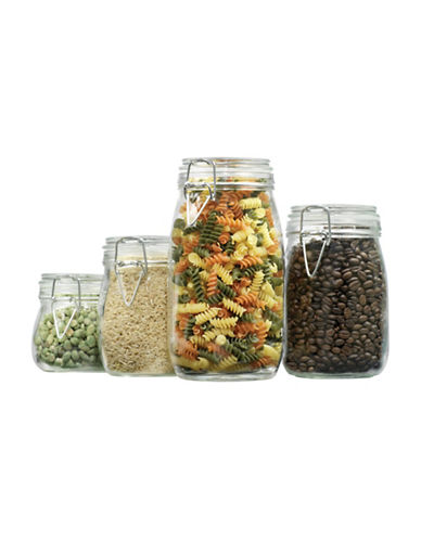 Anchor Hocking Four-Piece Round Glass Canister Set with Clamp Top Lids-CLEAR-One Size 88765627_CLEAR_One Size