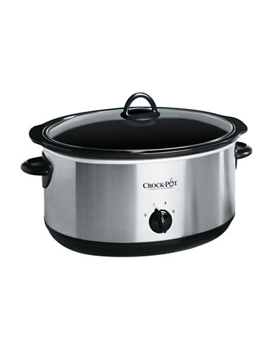 Crock Pot 8 Quart Oval Manual Slow Cooker with Little Dipper Food Warmer-STAINLESS STEEL-One Size