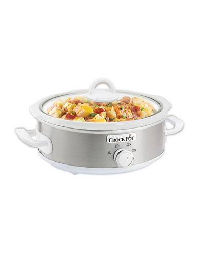 Crock Pot Casserole Crock 2.5-Quart Oval Slow Cooker-STAINLESS STEEL-One Size