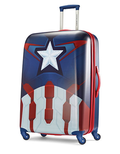 American Tourister Marvel All Ages 30-Inch Captain America Large Spinner Luggage-BLUE-30