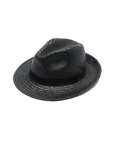 Collection 18 Woven Straw Panama Hat-BLACK-One Size