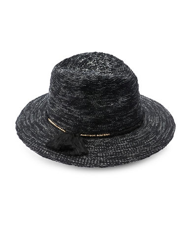 Vince Camuto Cotton Slub Yarn Panama Hat-BLACK-One Size