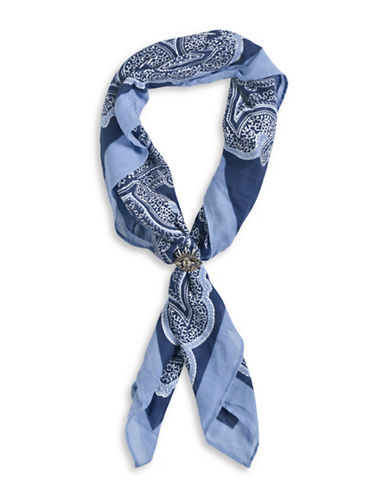 Collection 18 Cowgirl Blues Bandana with Evil Eye Ring-DESERT SKY-One Size