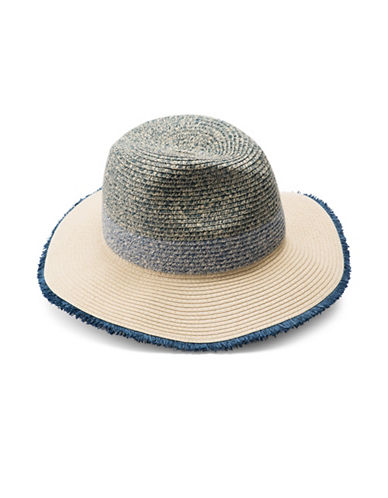 Collection 18 Colourblock Fray Edge Straw Panama Hat-BLUE-One Size