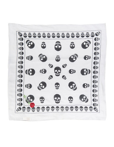 Collection 18 Skulls and Rose Embroidered Bandana-WHITE-One Size