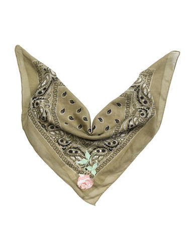 Collection 18 Rock Paisley Rose Bandana-GREEN-One Size