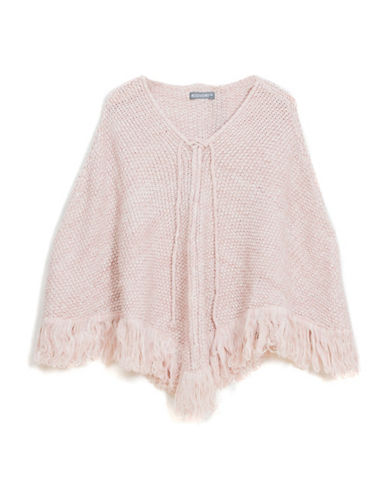 Collection 18 Lace-Up Knit Fringe Poncho-ROSE-One Size