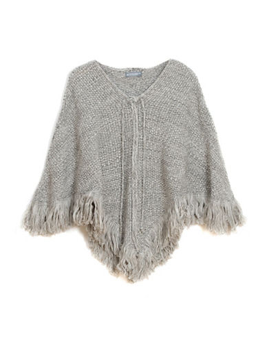 Collection 18 Lace-Up Knit Fringe Poncho-GREY-One Size