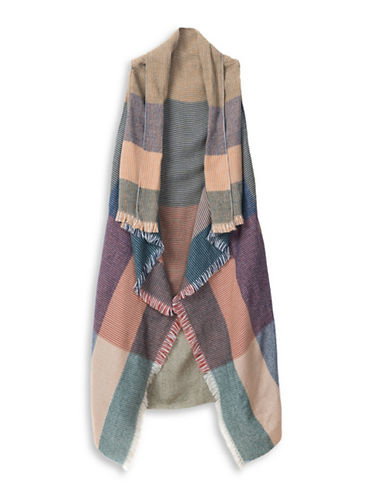 Collection 18 Colorblock Plaid Vest-CAMEL-One Size