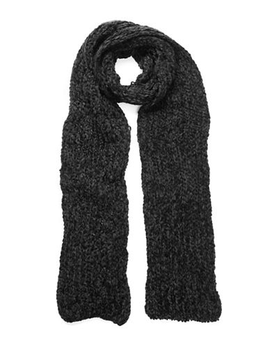 Collection 18 Knitted Chenille Scarf-BLACK-One Size