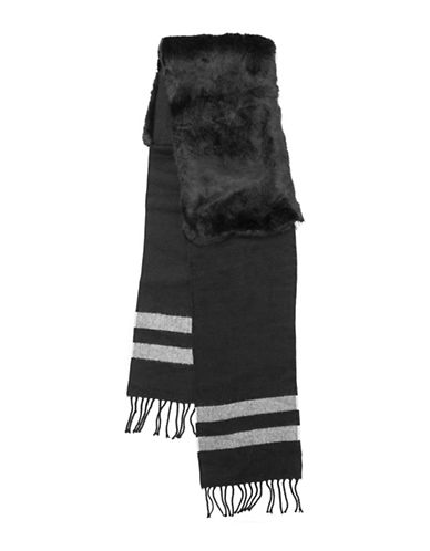 Vince Camuto Striped Faux Fur Stole-BLACK-One Size