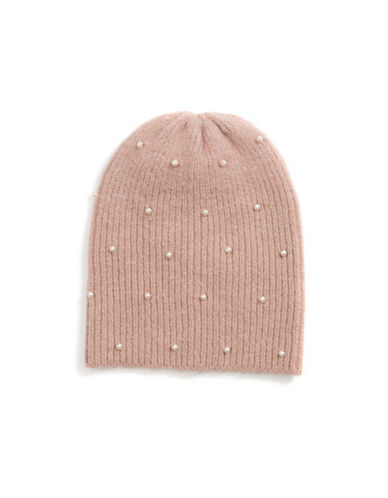 Collection 18 Faux Pearl Knit Beanie-ROSE-One Size