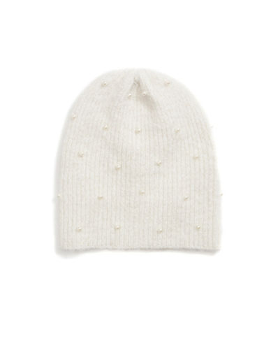 Collection 18 Faux Pearl Knit Beanie-IVORY-One Size