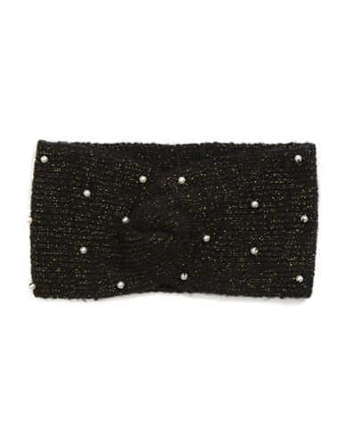 Collection 18 Faux Pearl Knit Headwrap-BLACK-One Size