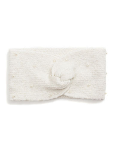 Collection 18 Faux Pearl Knit Headwrap-IVORY-One Size